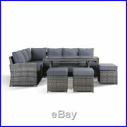 Jasmina Grey Garden Furniture Corner Sofa with Dining Table and 3 Stools Set