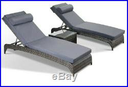 Jasmina Grey Garden Furniture Sun Loungers with Side Table Set