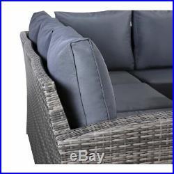 Jasmina Grey Garden Outdoor Furniture Corner Sofa with Dining Table and Stools
