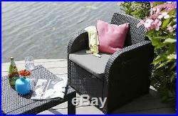 Keter Allegro 2 Seater Rattan Balcony Bistro Set Outdoor Garden Furniture