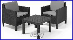 Keter Chicago 2 Seat Rattan Balcony Garden Furniture Set Graphite Grey Cushion