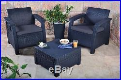 Keter Corfu 2 Seater Balcony Set Plastic Rattan Garden Furniture C Free Deliver