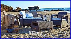 Keter Corfu 4 Seater Lounge Set Plastic Rattan Garden Furniture G/G