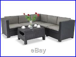 Keter Rattan Garden Furniture Set Corner Sofa Table Outdoor Patio Conservatory
