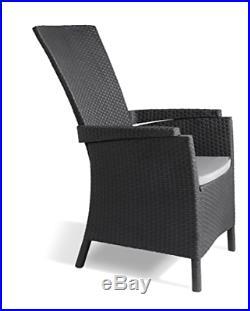 Keter Vermont Rattan Reclining Chair Outdoor Garden Furniture Graphite
