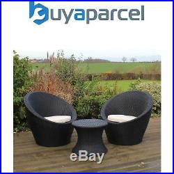 Kingfisher Rattan 3 Piece Egg Bistro Table & Chairs Set Patio Garden Furniture