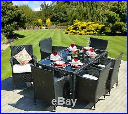 Large Dining Table Set Garden Patio Furniture Rattan 6 Seater Chairs & Cushions