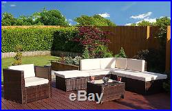 Light Brown Modular Rattan Weave Corner Sofa Set Garden Furniture + FREE COVER