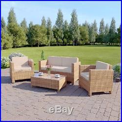 Light Brown Roma Rattan Weave Garden Furniture Sofa Set