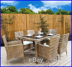 Light Mixed Brown Rattan Garden Furniture Dining Table Set 4 6 Chairs Patio