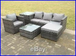 Lounge rattan sofa set with 2 table ottoman outdoor garden furniture patio grey