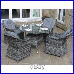 Luxury Grey Rattan 4 Seat Round Dining Set Garden or Conservatory Furniture