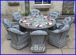 Luxury Grey Rattan Garden Furniture 8 Seat Round Dining Set without Parasol