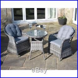 Luxury Grey Rattan Outdoor 3 Piece Bistro Set Garden Furniture