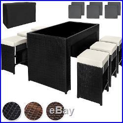 Luxury Rattan Aluminium Bar Set + 6 Barstools Garden Furniture Outdoor Wicker