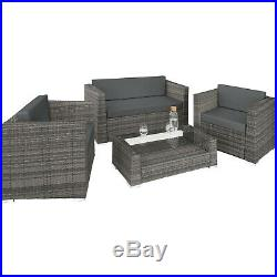 Luxury Rattan Aluminium Garden Furniture Sofa Set Outdoor Wicker 4 Pillows Grey