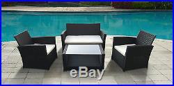 Luxury Rattan Garden Set Outdoor Furniture 4pc PE Rattan Patio Conservatory