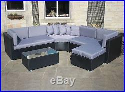 Luxury Rattan Wicker Outdoor Garden Furniture Curved Corner Sofa Set Black