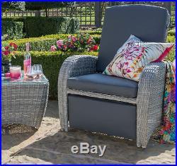 Luxury Sun Lounger Garden Deck Furniture 2 Large Armchairs Glass Table Patio Set