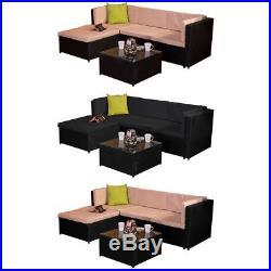 Madrid 3 Piece Garden Rattan Furniture Set Patio Outdoor Brown Black Sofa UKFR
