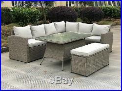 Miami Corner Casual Dining Set Grey Rattan Weave Garden Furniture