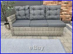 Miami Grey Rattan 8 Seat Casual Garden Furniture Dining Corner Sofa Set