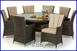 Milan Rattan Garden Furniture Round 8 Seater Brown Dining Table & Chair Set