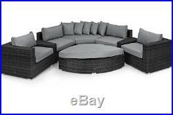 Milan Rattan Outdoor Garden Furniture Deluxe Grey Rounded Corner Sofa Set