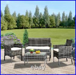 Mix Grey Garden 4 Pieces Rattan Wicker Furniture Set Table Patio Sofa Cushion