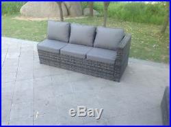 Mixed grey rattan corner sofa set coffee table outdoor garden furniture