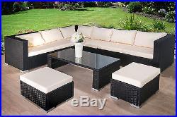 Modern Rattan Garden Furniture Sofa Set Lounger 8 Seater Outdoor Patio Furniture