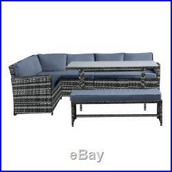 NEW Conservatory 8 Seater Rattan Corner Sofa Set Bench Garden Furniture Set