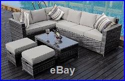 NEW Conservatory MODULAR 8 Seater Rattan Corner Sofa Set Garden Furniture Set
