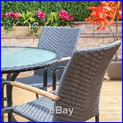 Naples Round Aluminium & Rattan Garden Furniture Dining Set