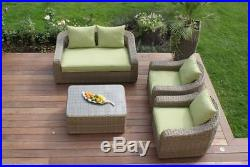 Natural Milano Rattan Outdoor Garden Furniture Rounded Green Sofa Set & Cushions