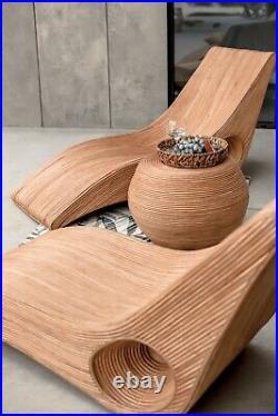 Natural Rattan Sun Lounger Chair Outdoor Day Bed Patio Garden Terrace Furniture