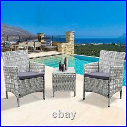 Neo 3 Piece Rattan Garden Furniture Bistro Set Chair Coffee Table Patio Outdoor