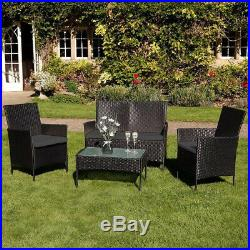 New 4pc Garden Rattan Black Furniture Pillow Set Patio Glass Table Chair Sofa