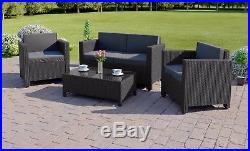 New Black Rattan Weave Garden Furniture Conservatory Sofa Set Sale