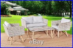 New Rattan Garden Furniture 4 Pcs Retro Set Am712 Sturdy And Versatile/elegant