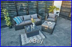 New Rattan Garden Furniture 5 Seater Sofa Set Patio Conservatory