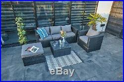 New Rattan Garden Furniture 5 Seater Sofa Set Patio Conservatory Grey 4 Pieces