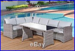 New Rattan Garden Furniture- King Size Corner Family Set Am716 + Free Umbrella