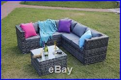 New Rattan Garden Furniture Set Sofa Table Patio Conservatory Grey Set