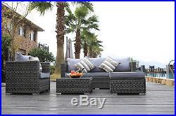 New Rattan Garden Furniture Sofa Table Chairs Grey Patio Conservatory Sofa Set