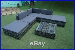 New Rattan Outdoor Garden Furniture Patio Corner Sofa Set 6 pcs Wicker Units