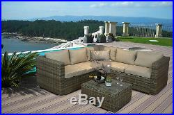Nova' Brown Rattan Corner Sofa Outdoor Garden Furniture Coffee Table Set