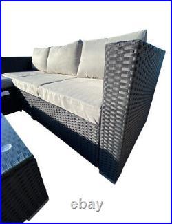 Outdoor Black Rattan Garden Furniture 4 Seat Corner Sofa &Coffee Table Patio Set
