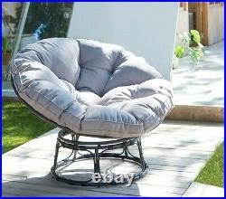 Outdoor Garden Furniture Moon Chair Rattan Papasan Round Indoor Padded Seat