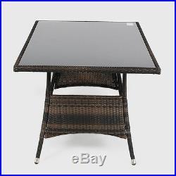 Outdoor Garden Furniture Rectangular Rattan Glass Patio Coffee Table Decking